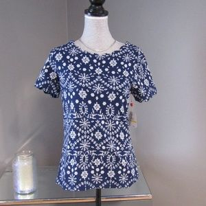 NEW Rafaella Blue & White Print Short Sleeve Top M